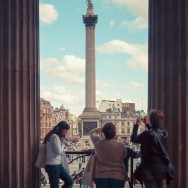 Nelsons Column being photographed by Ladies.