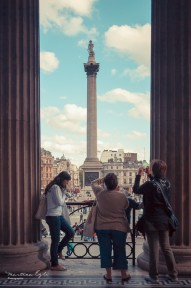 Nelsons Column being photographed by Ladies, London.
