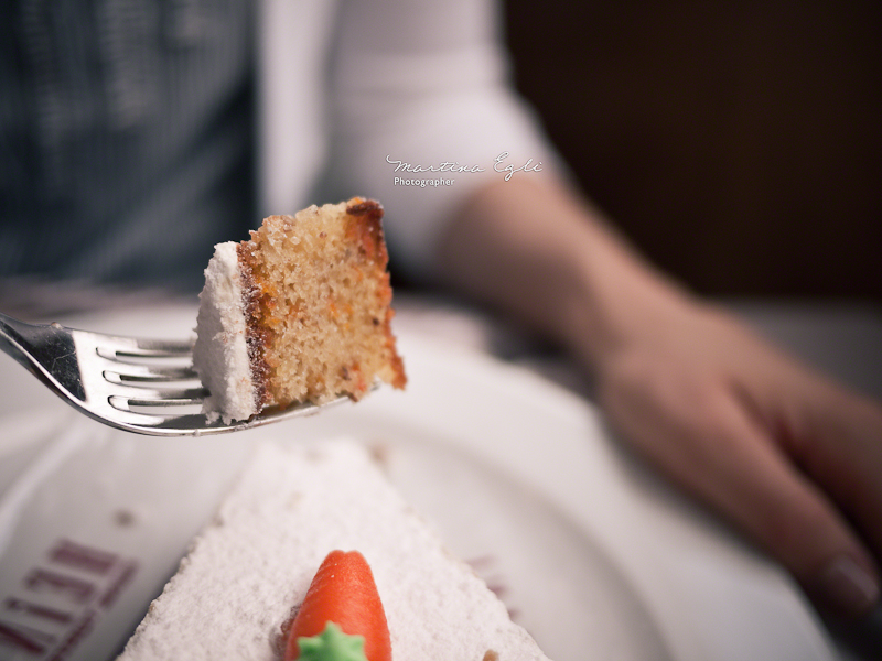 A piece of cake on a fork