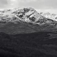 A Black and white image of Ben Lomond, Scotland.