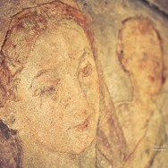 An italian fresco showing mother and child.