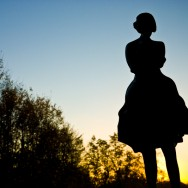 A silhouette of a women.