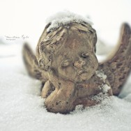Little Angel, covered in snow.