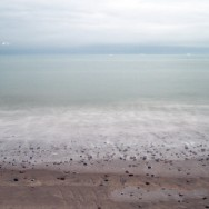 A long exposure of a beach.