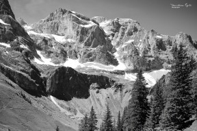 A Black and White image of an Alpine mountain range.