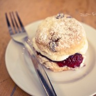 A scone on a white plate.