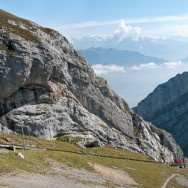 Mount Pilatus with the cogwheel railway