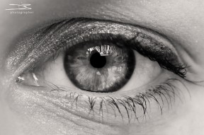 Black and White macro image of an eye.