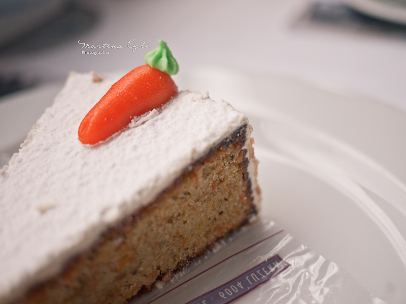 A little Marzipan carrot on a carrot cake