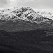A Black and white image of Ben Lomond, Scotland.