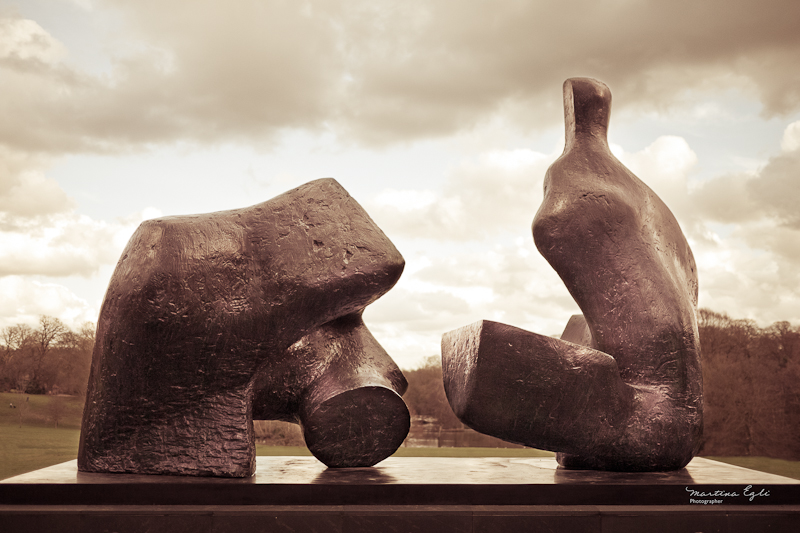 "Henry Moore's ""Two Piece Reclining Figure Number Five"" in Hampstead Heath, London."