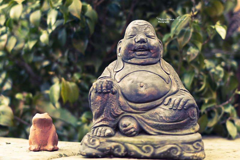 A Buddha statue is sitting next to a sculpture of a frog.