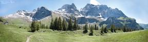 A Panorama of a Swiss Mountain Range.