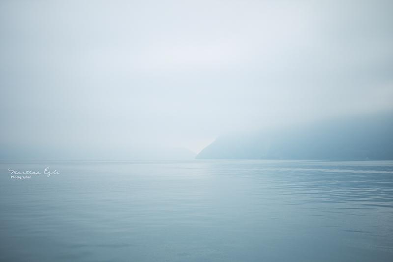Lake Lucerne (Vierwaldstättersee) covered in mist.