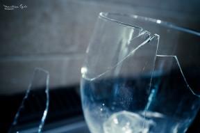 A broken wine glass.