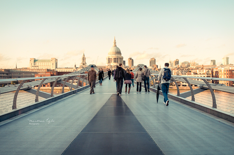 Millenium Bridge and St. Pauls Cathedral in London.