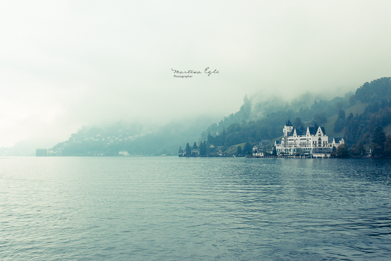 A luxurious hotel on the shore of lake lucerne, Switzerland.