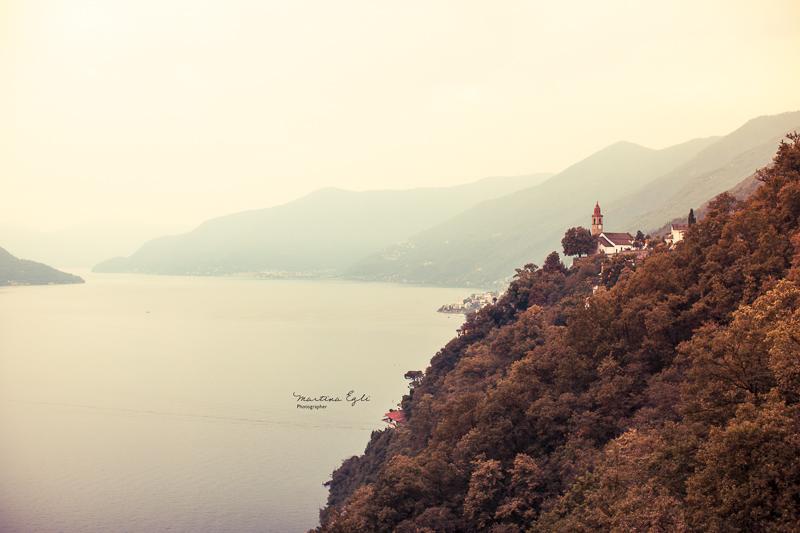 A church on a mountain ridge.